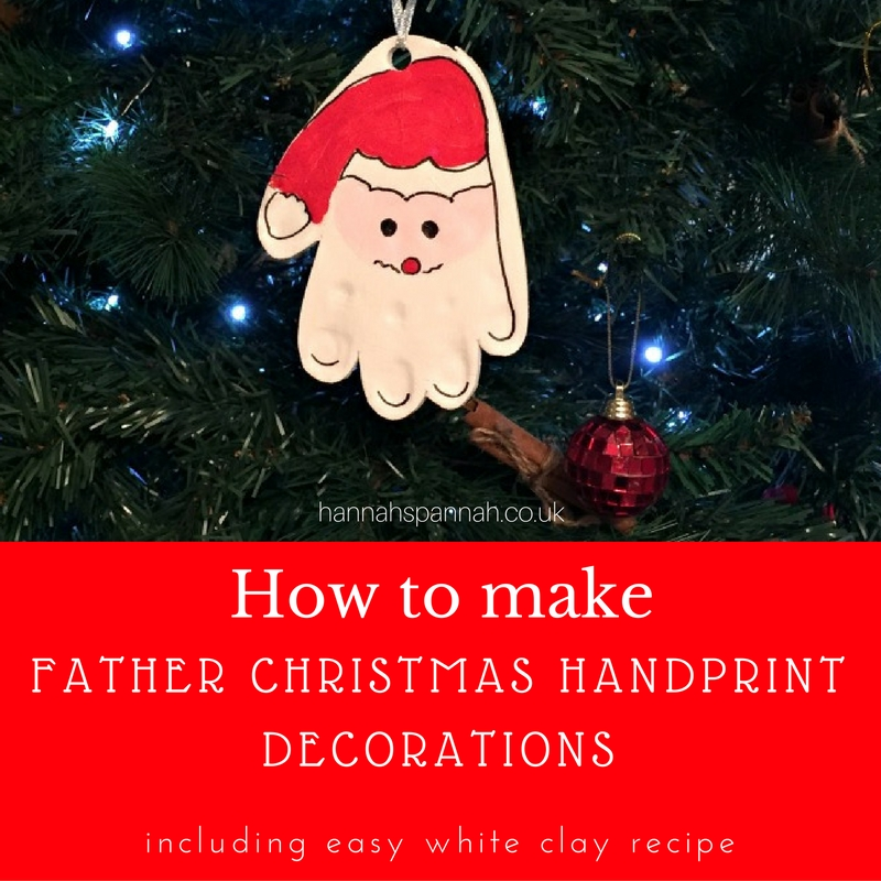 how to make homemade clay white clay father christmas decorations handprints