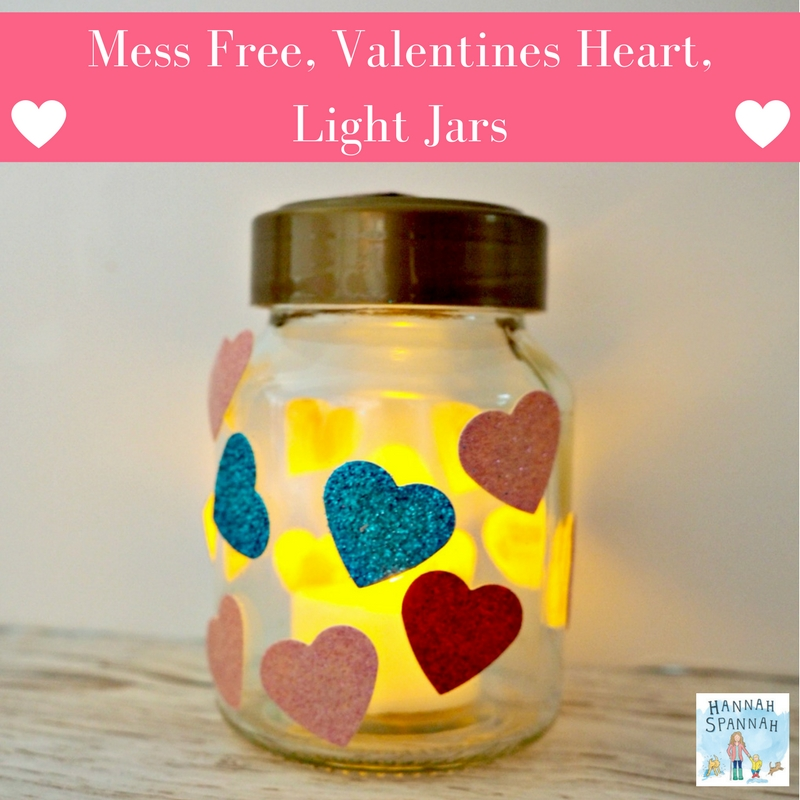How to make beautiful, Mess Free, Glue Free, Valentines Heart, Light Jars