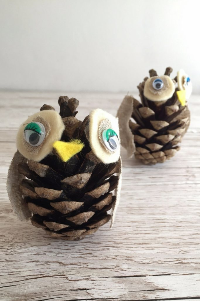 How to make Easy, Cute Pine Cone Owls. Perfect for Fall, Thanksgiving and Winter decoration or just because!