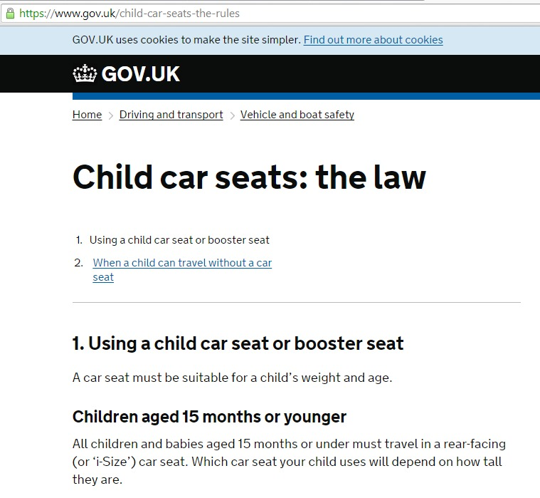 New Child Car Seat regulations i-size (UK) 2015.