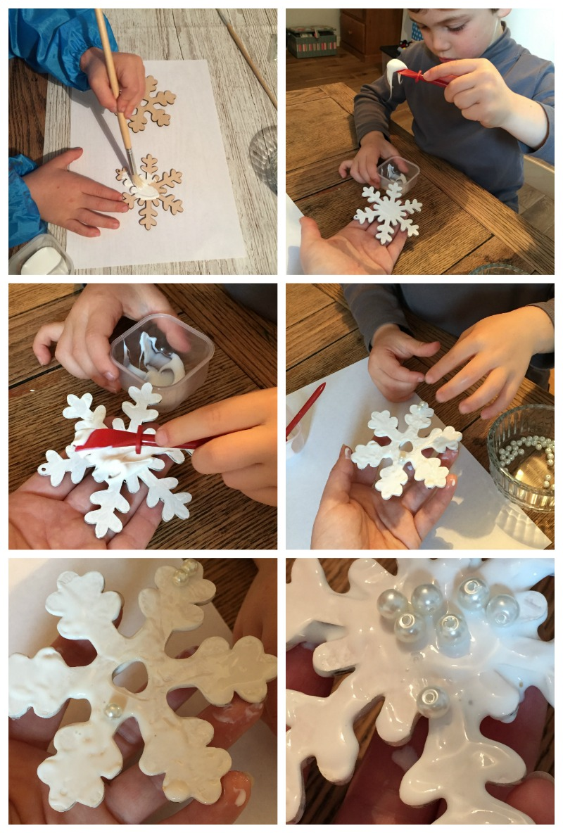 kids christmas crafts snowflakes pearl beads