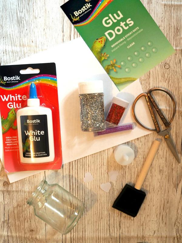 How to make Beautiful, Glitter Reveal, Valentines, Heart, Light Jars