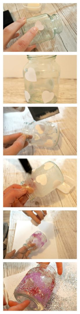 How to make a Beautiful, Glitter Reveal, Heart Valentines, Light JAr