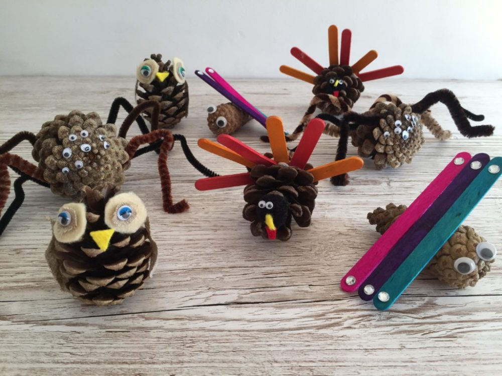 How to make Easy, Cute Pine Cone Animals. Perfect for Spring, Fall, Thanksgiving and Halloween decoration or just because!
