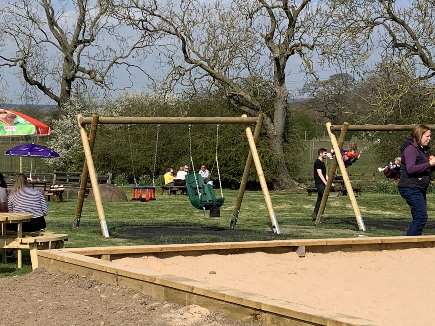 The swings, including a large bucket seat swing with straps at Monk Park Farm